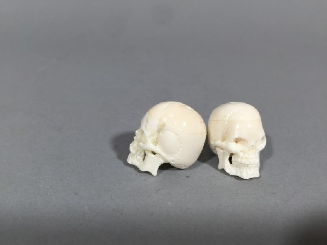Pair Carved Bone Detail Memento Mori Skulls - 3
