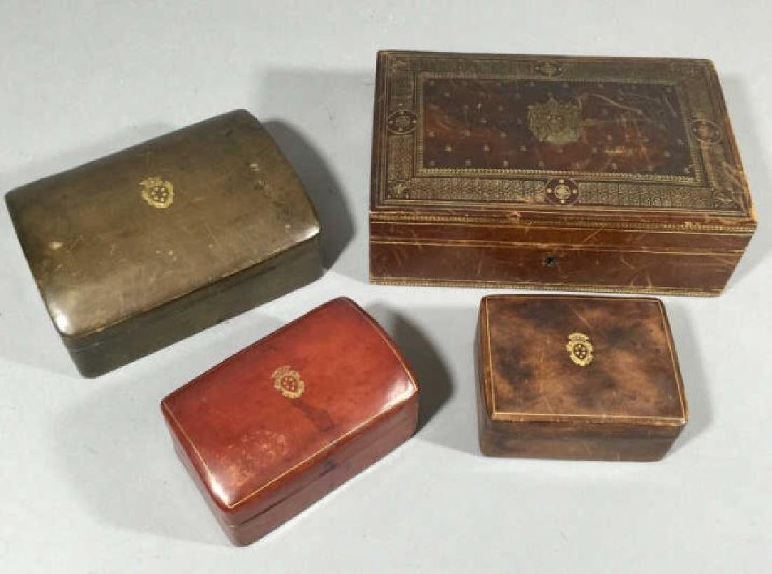 4 Vintage Calfskin Leather Boxes w Gold Embossing