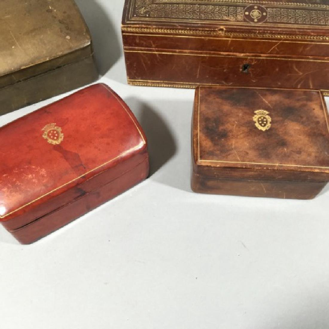 4 Vintage Calfskin Leather Boxes w Gold Embossing - 4