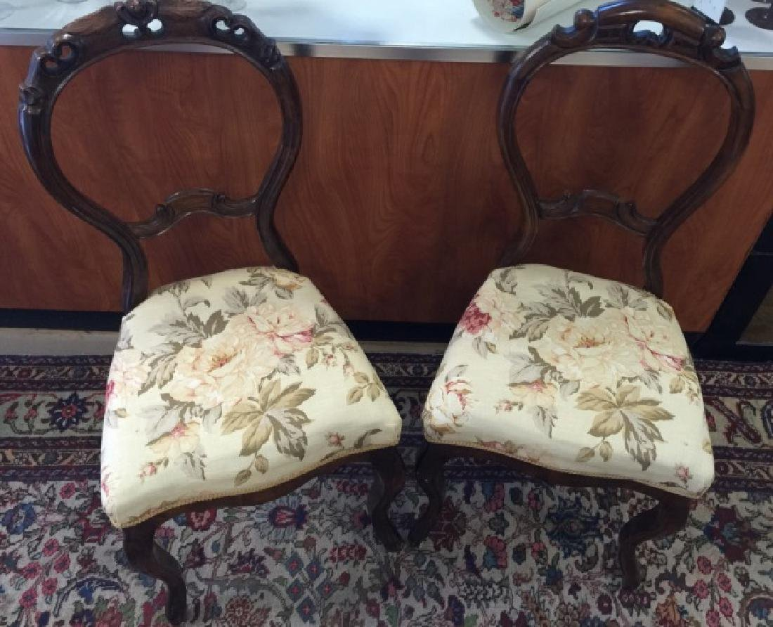 Pair Antique Balloon Back Carved Victorian Chairs