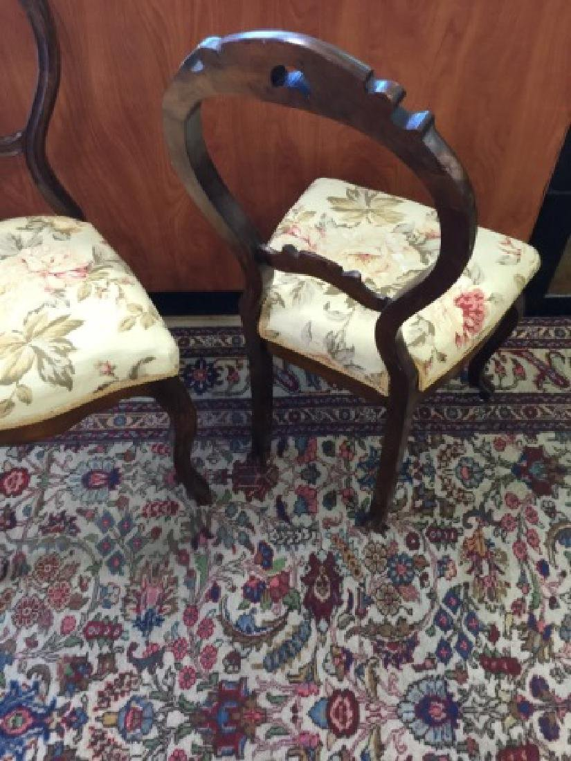 Pair Antique Balloon Back Carved Victorian Chairs - 2