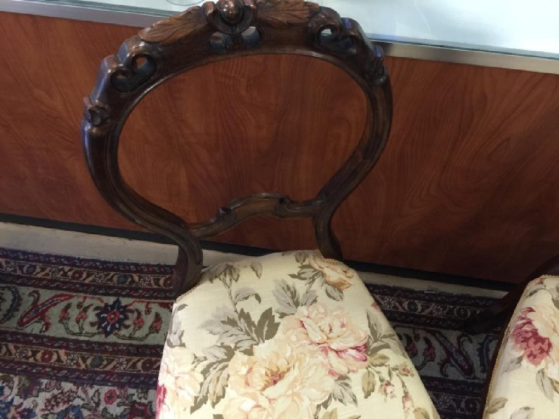Pair Antique Balloon Back Carved Victorian Chairs - 3