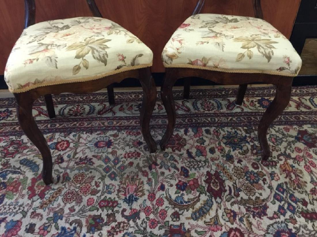 Pair Antique Balloon Back Carved Victorian Chairs - 5