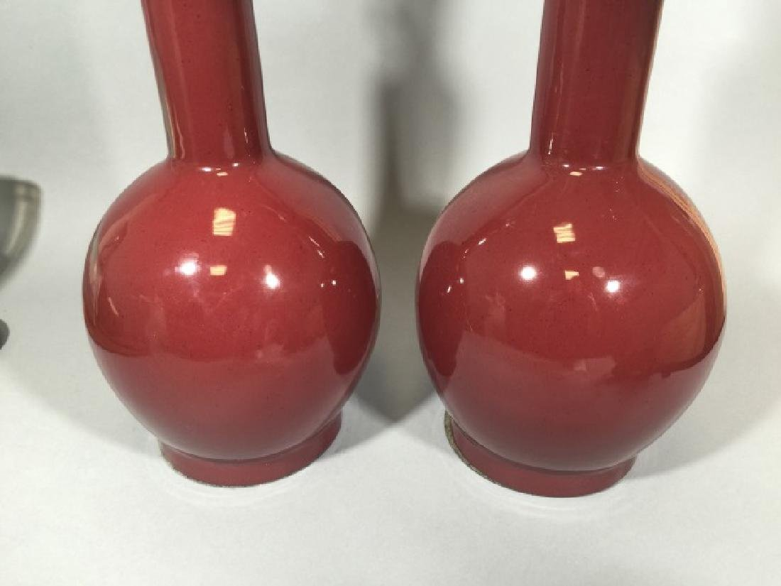 Pair Oxblood Red Ceramic Vase Form Table Lamps - 3