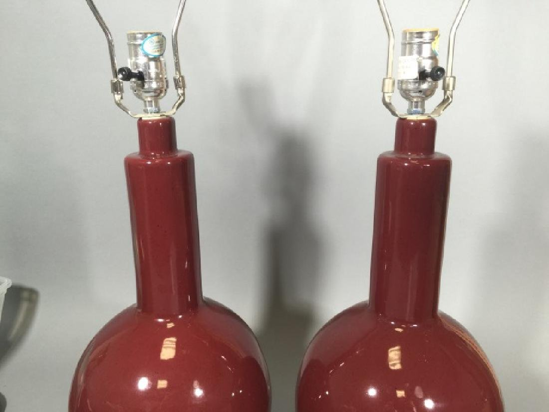 Pair Oxblood Red Ceramic Vase Form Table Lamps - 4