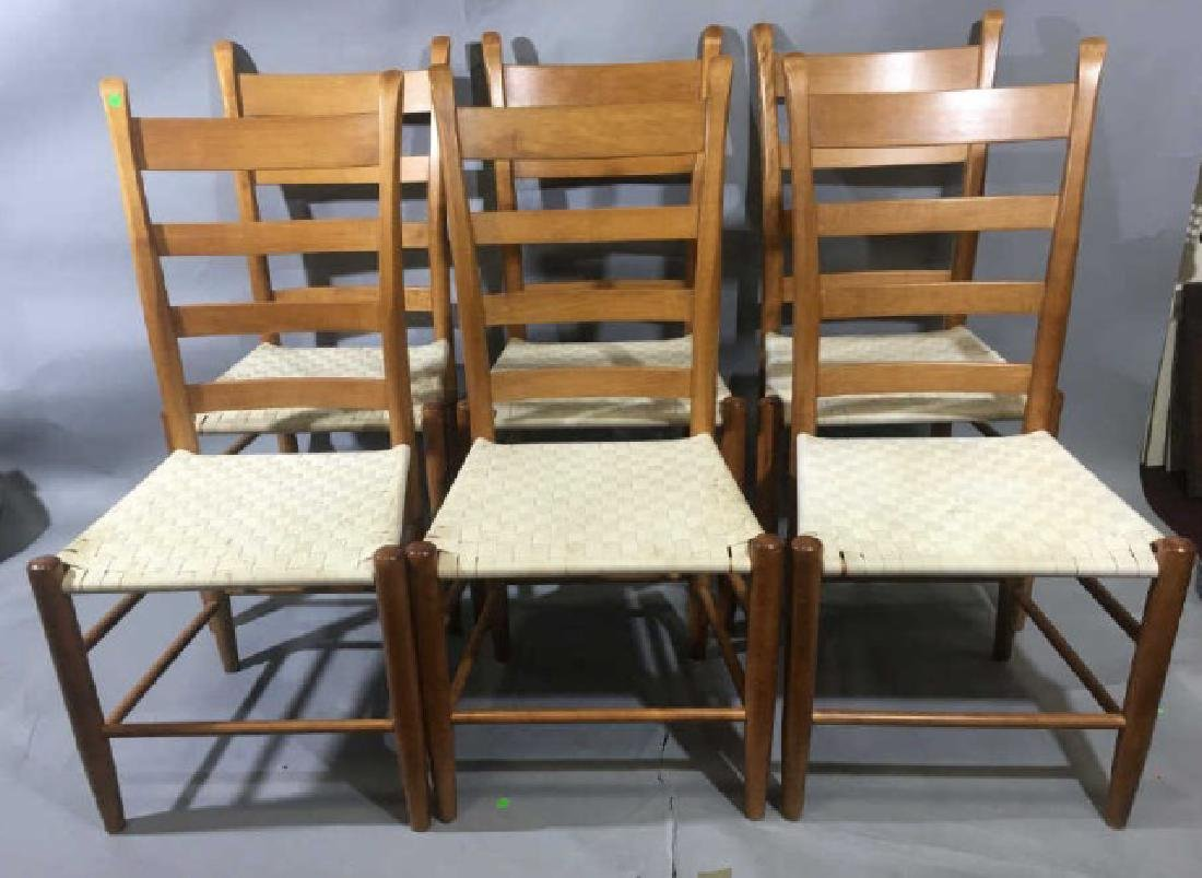 Set 6 Shaker Style Ladder Back Chairs Woven Seats