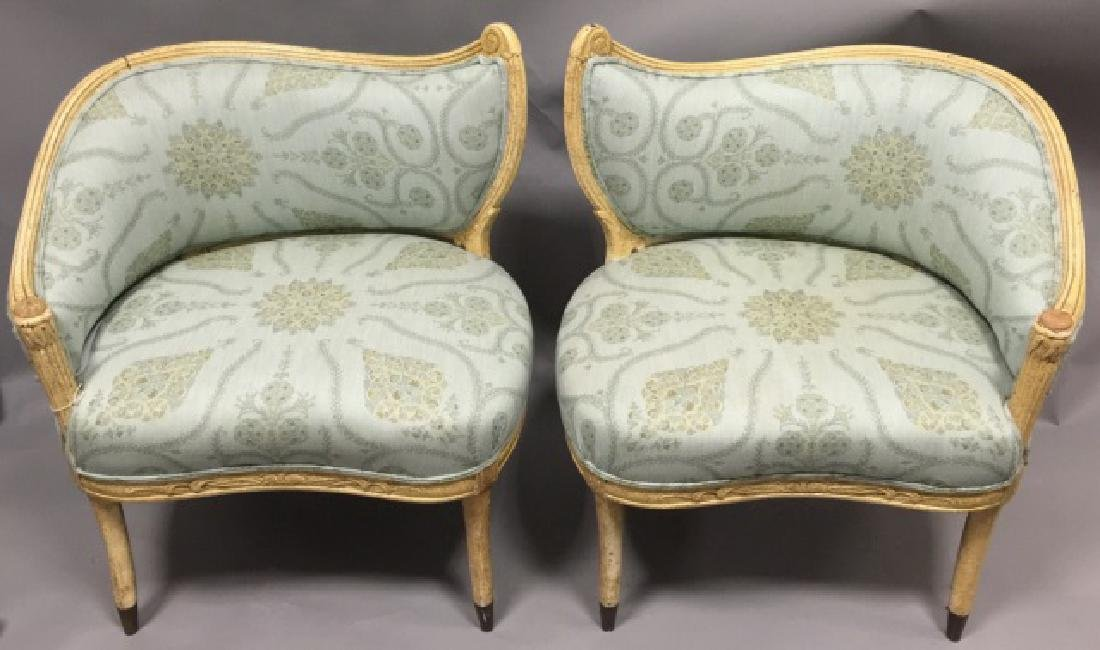 Pr Contemp. Designer Upholstered Regency Chairs