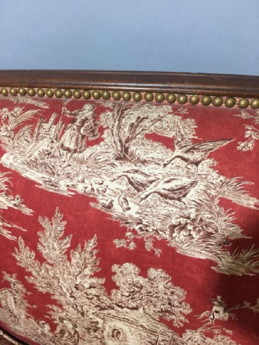 Vintage Regency Style Settee with Red Toile Fabric - 3