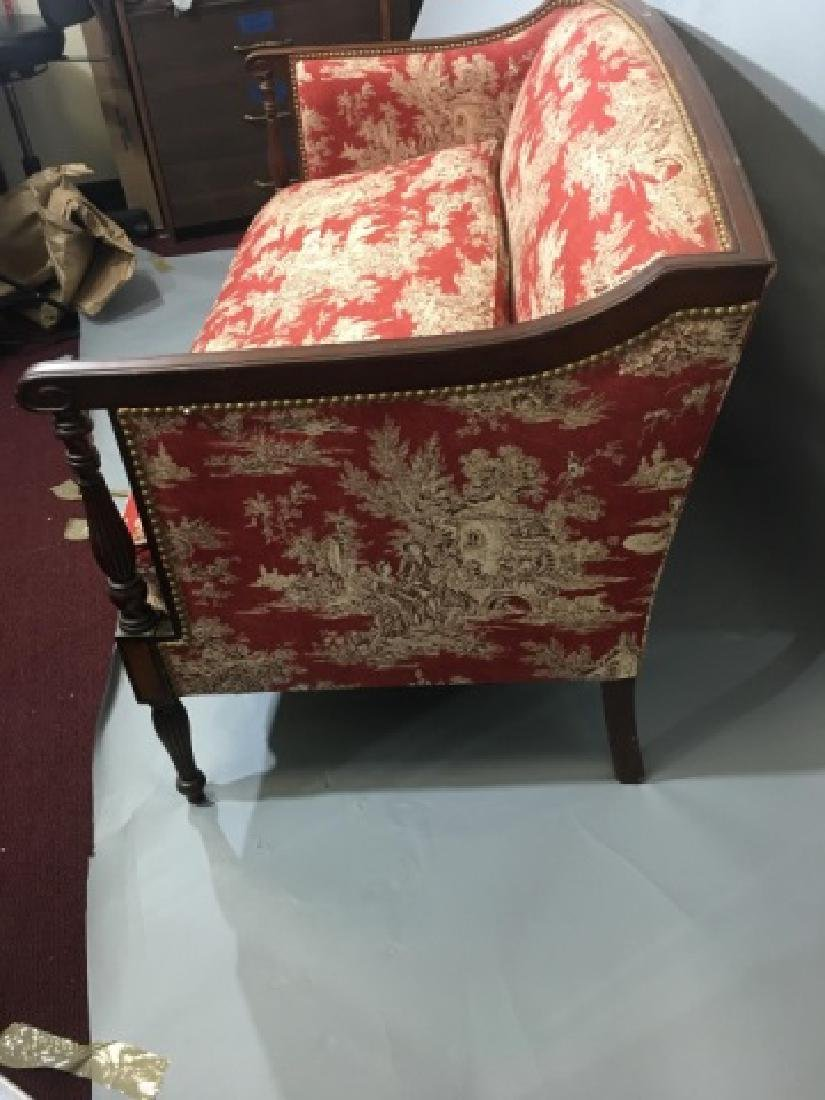 Vintage Regency Style Settee with Red Toile Fabric - 4