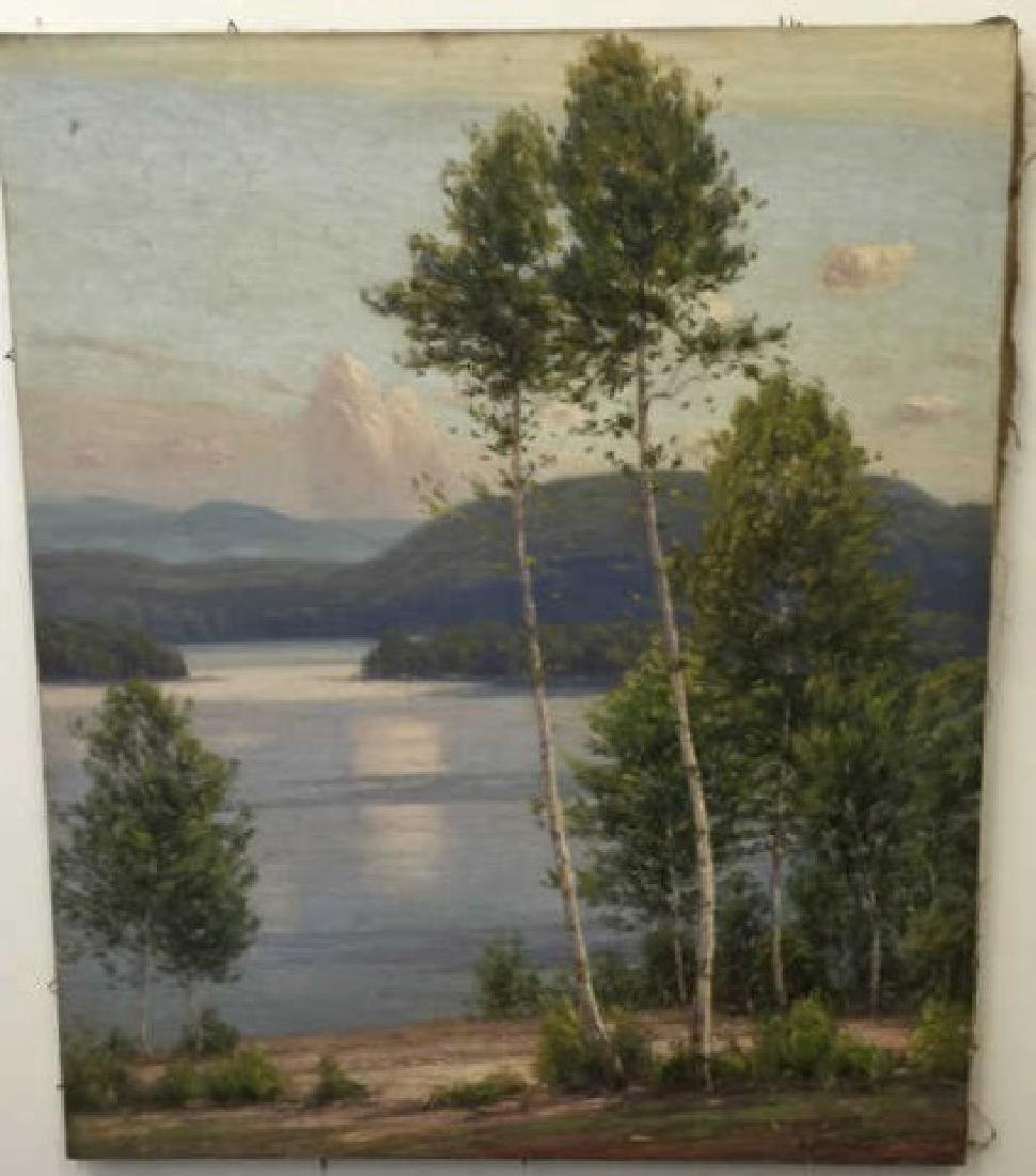 Signed Oil Painting on Canvas Hudson River Style