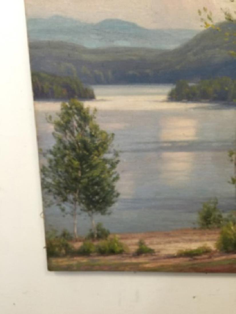 Signed Oil Painting on Canvas Hudson River Style - 2