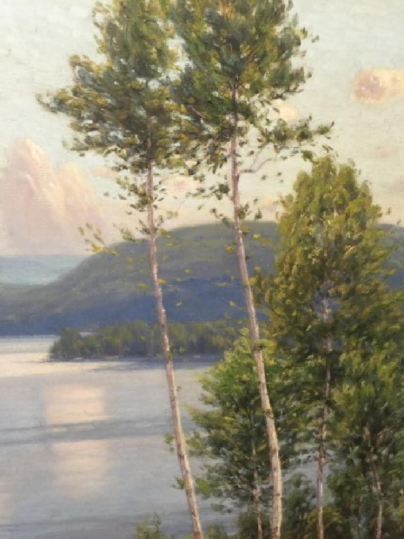 Signed Oil Painting on Canvas Hudson River Style - 3