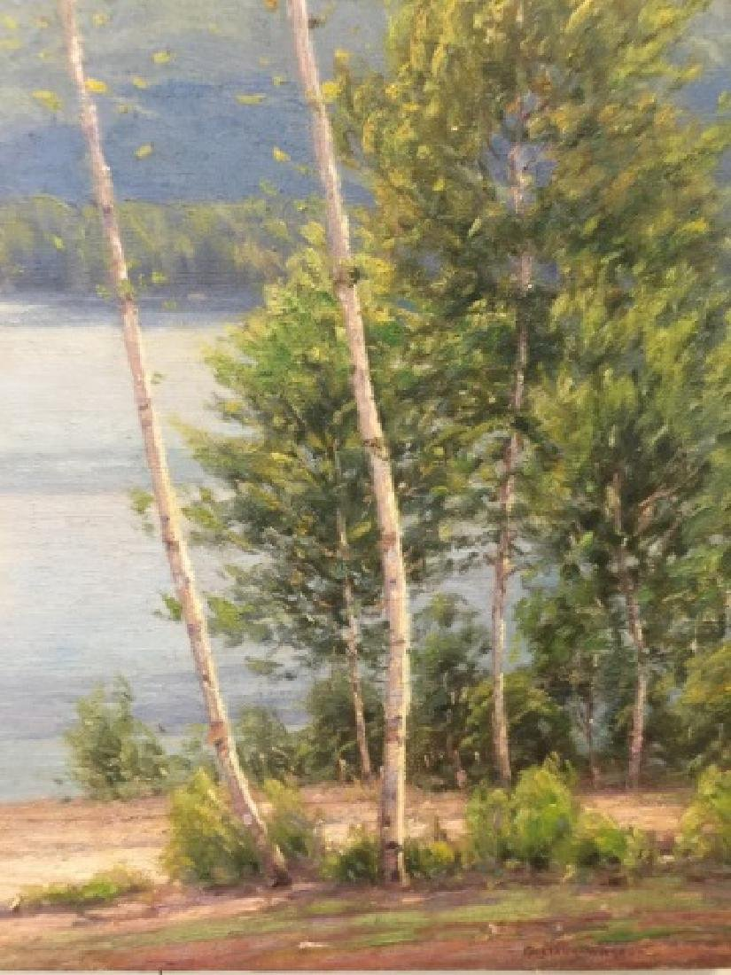 Signed Oil Painting on Canvas Hudson River Style - 4