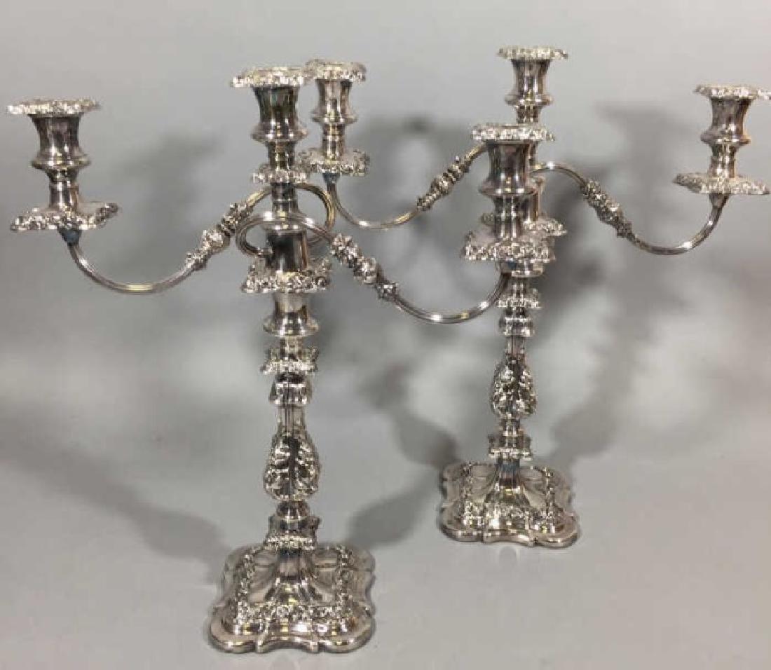 Pair Ellis Barker England Silver Copper Candelabra