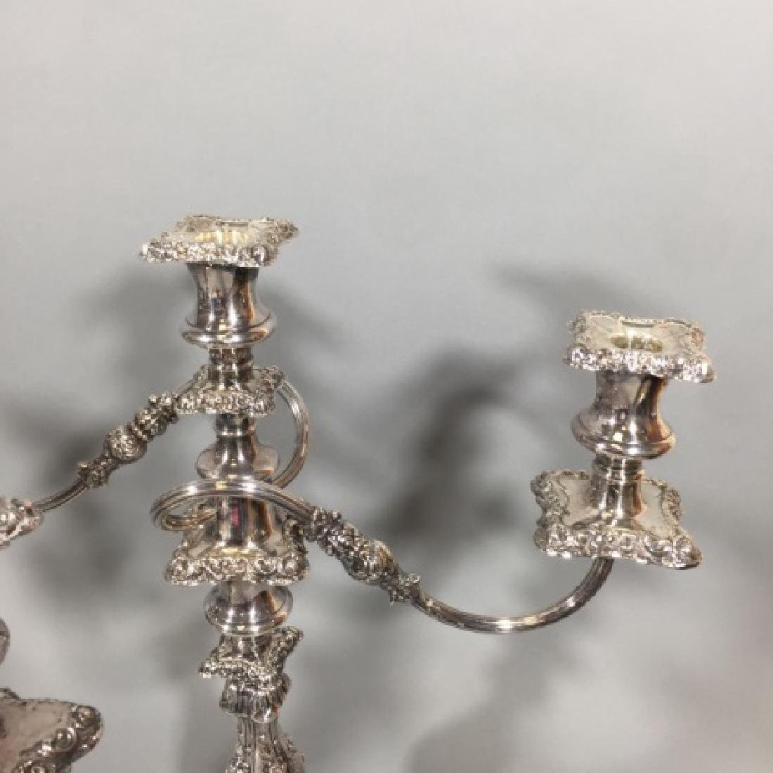 Pair Ellis Barker England Silver Copper Candelabra - 2