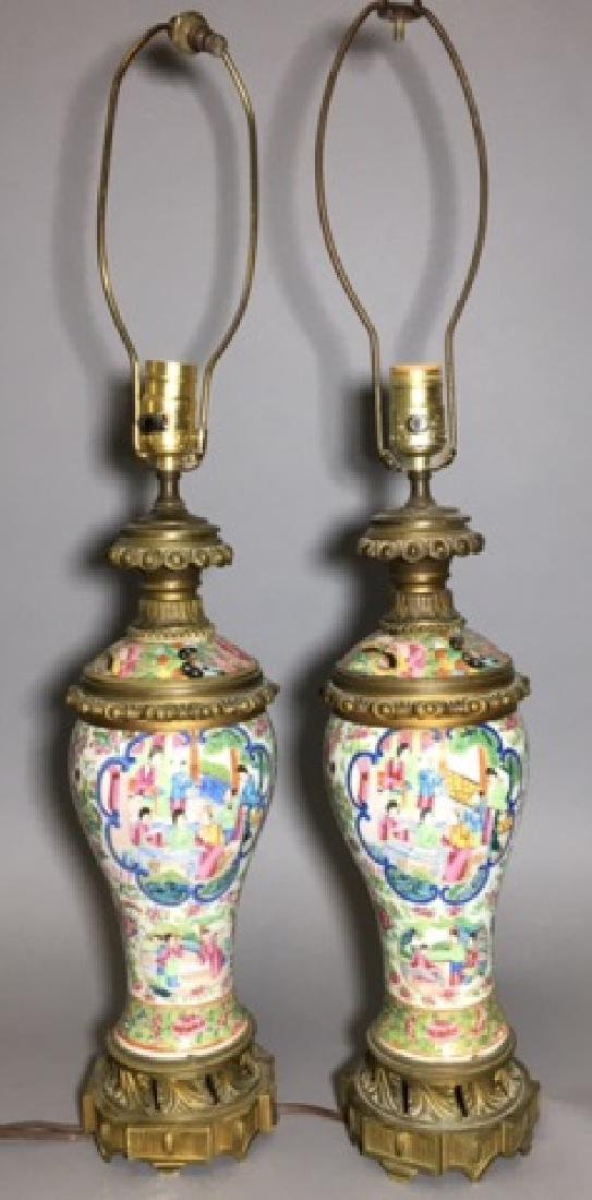 Pair Antique Chinese Porcelain Lamps French Bronze