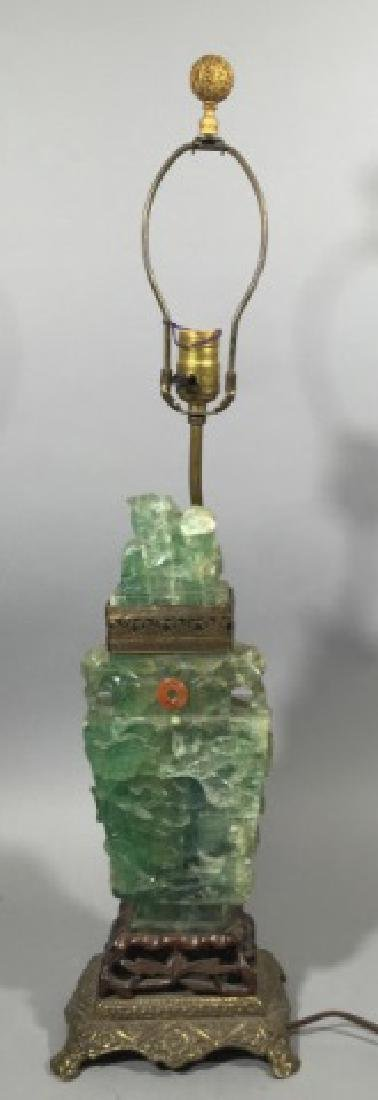 Antique Chinese Carved Green Quartz Lamp