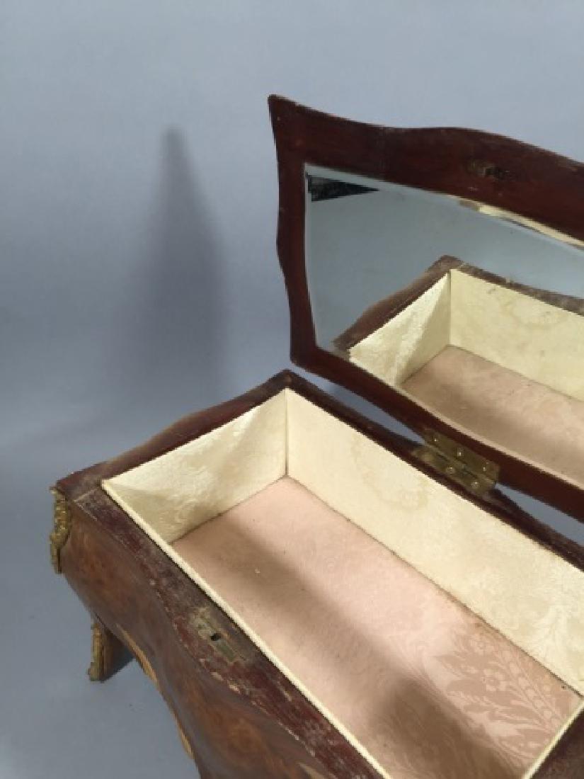 French Bombe-Style Antique Jewelry Box wBronze - 5