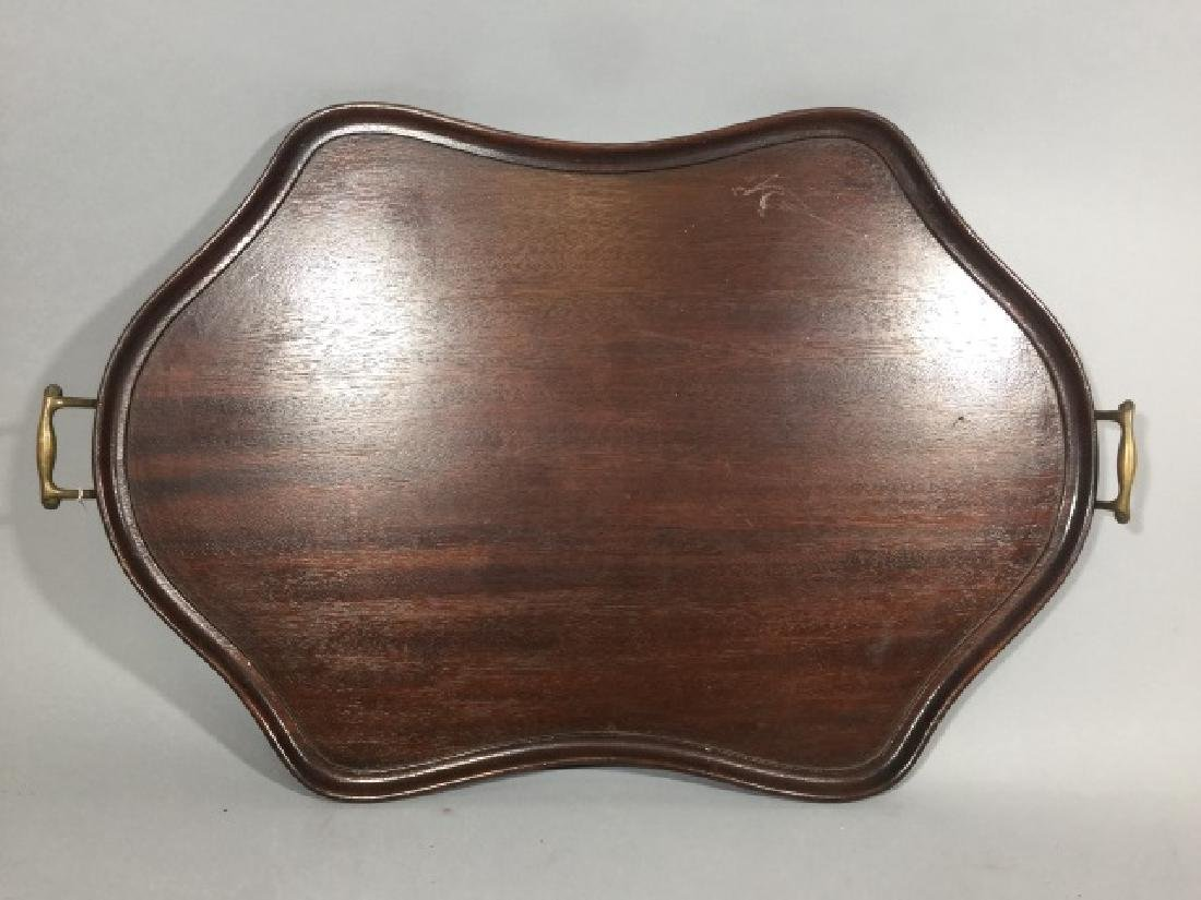 Antique Wood Tray with Brass Handles