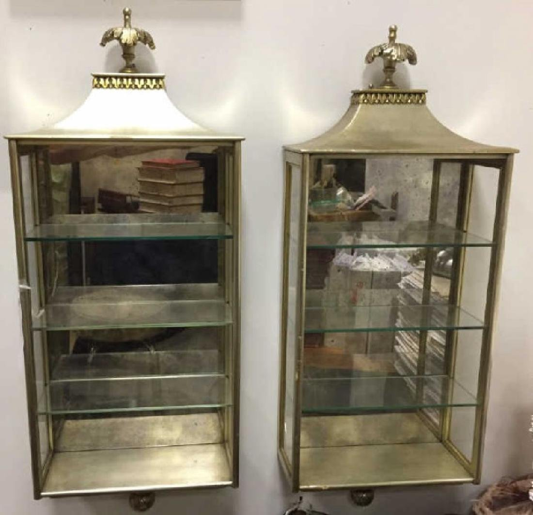 Pair of Gilded Displays wGlass Shelves & Mirror