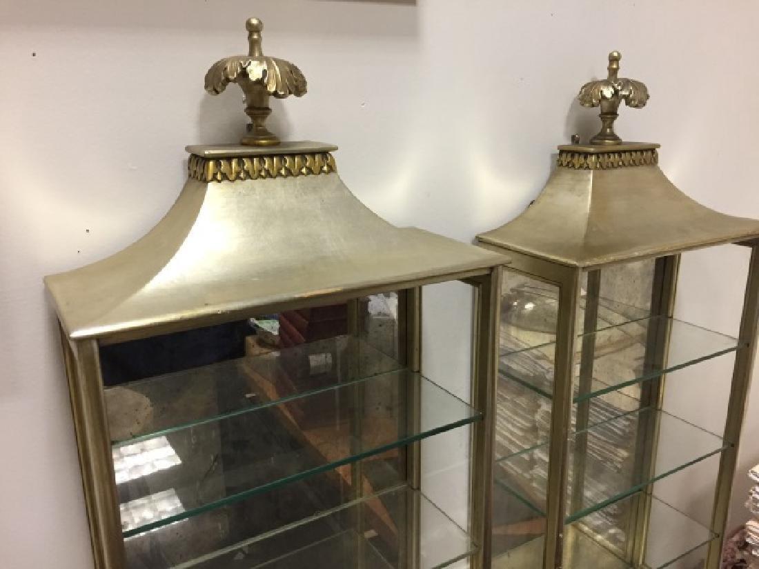 Pair of Gilded Displays wGlass Shelves & Mirror - 3