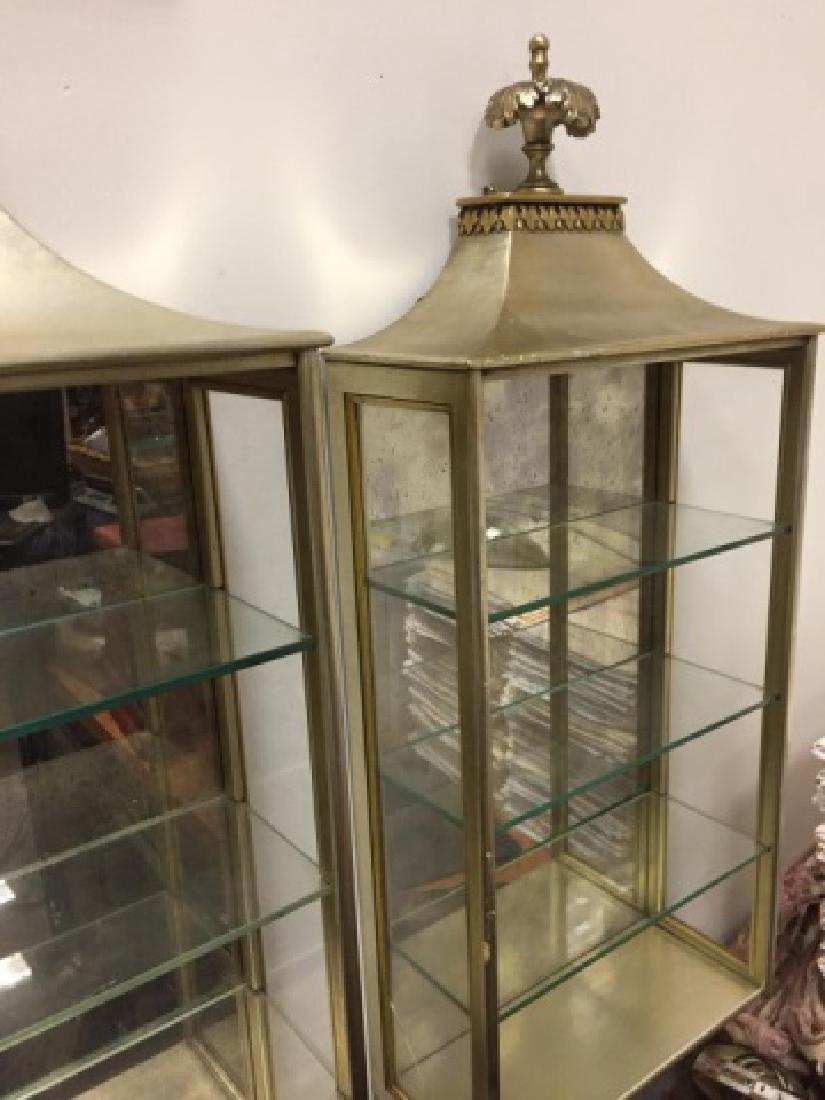 Pair of Gilded Displays wGlass Shelves & Mirror - 4