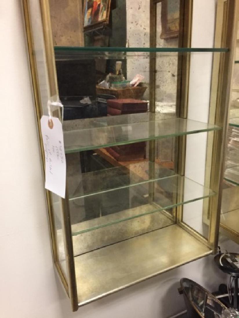 Pair of Gilded Displays wGlass Shelves & Mirror - 5