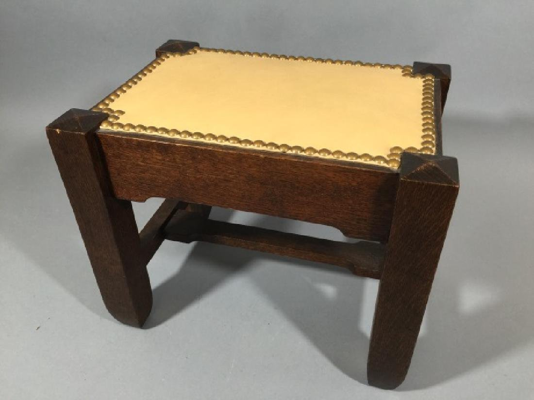 Mission Style Oak Footstool, Leather Top