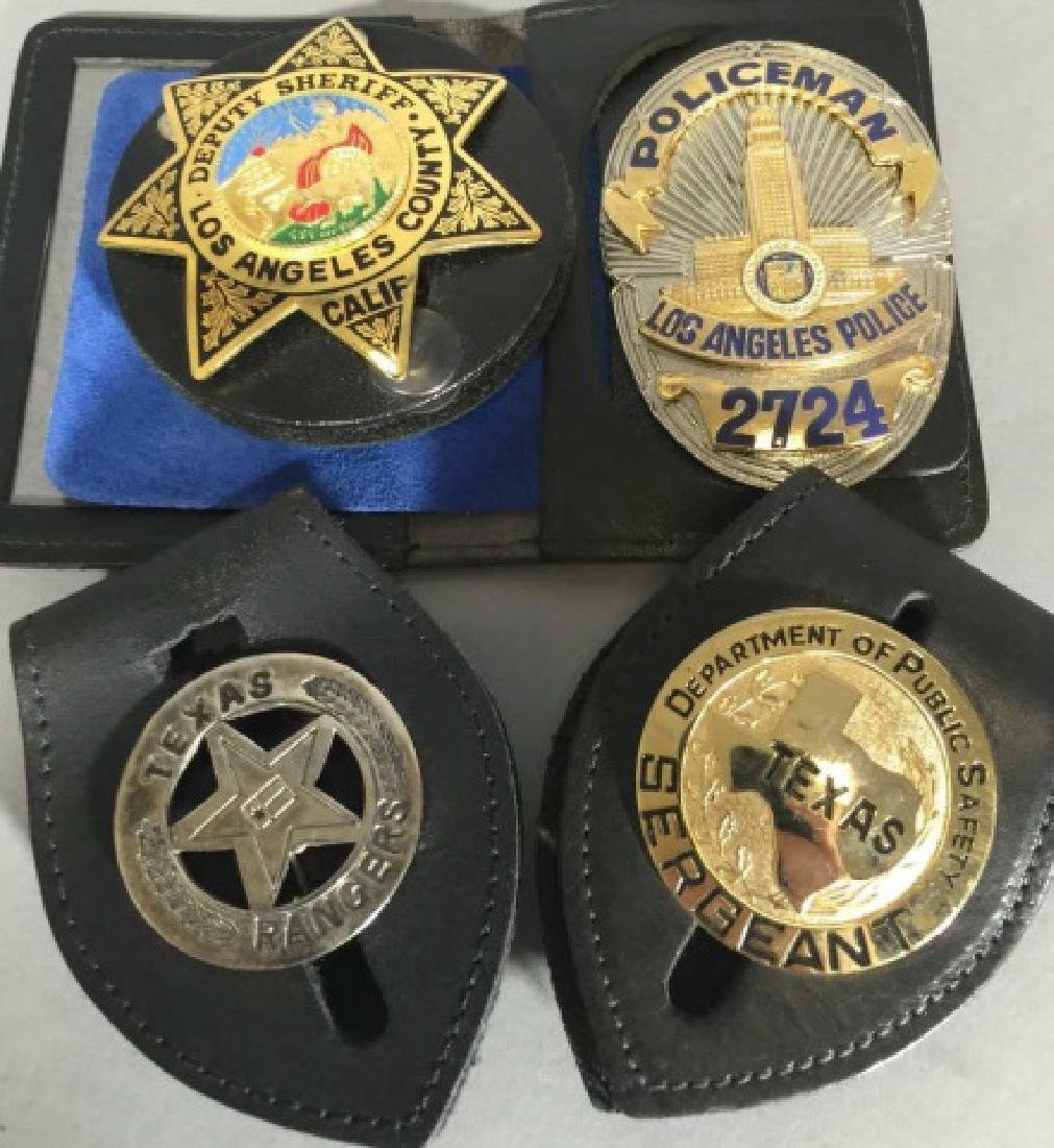 4 Obsolete Law Enforcement Badges in Leather