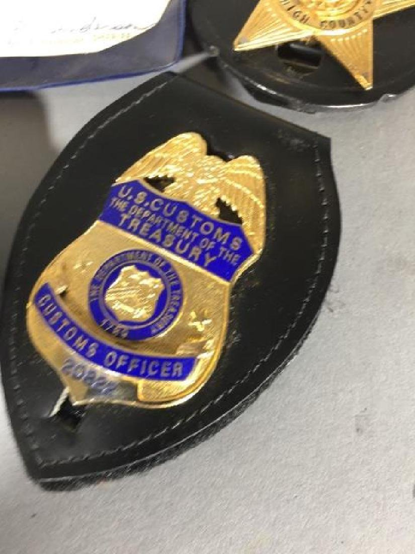 4 Obsolete Law Enforcement Badges in Leather - 3