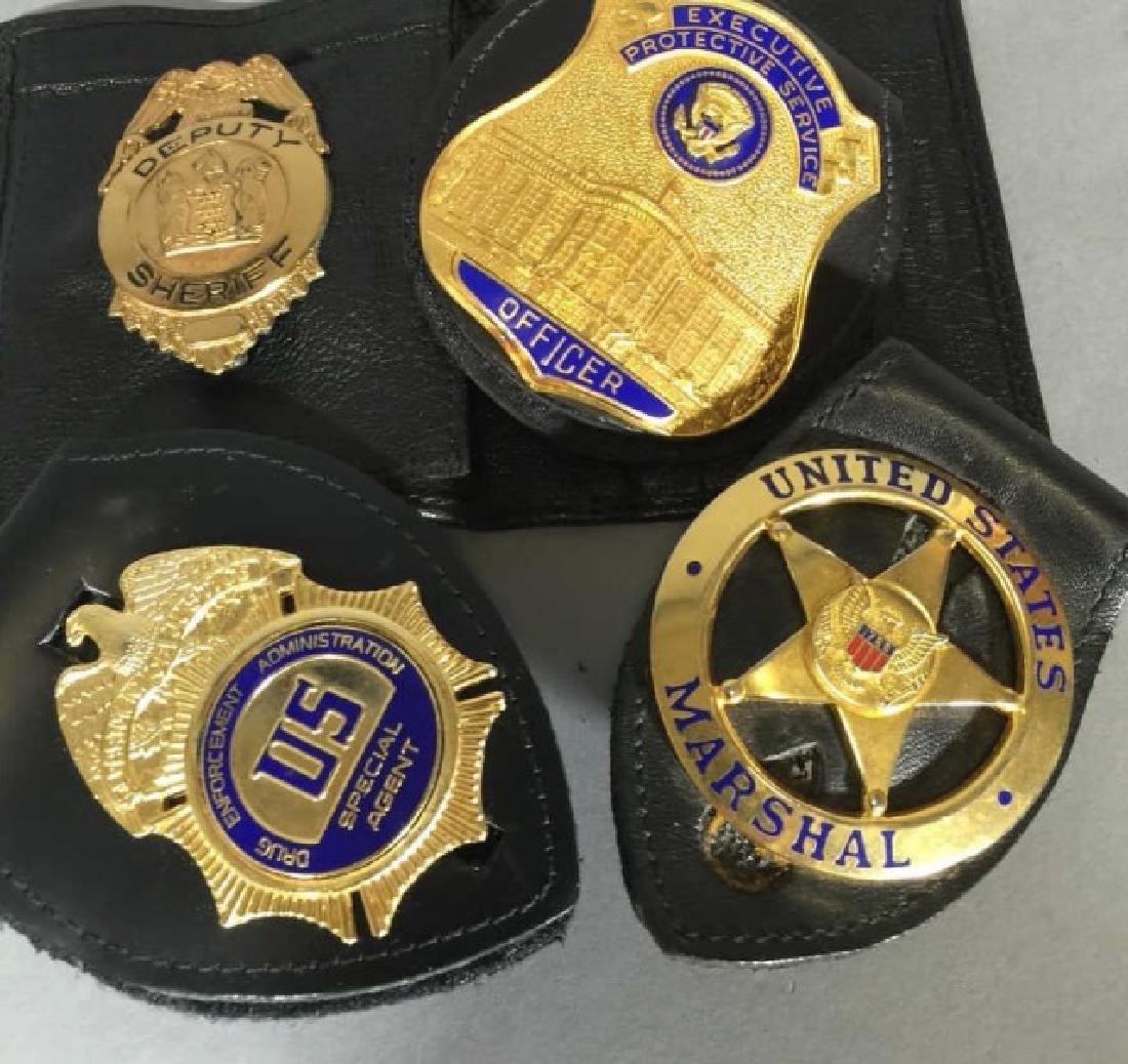4 Obsolete Law Enforcement Badges in Leather