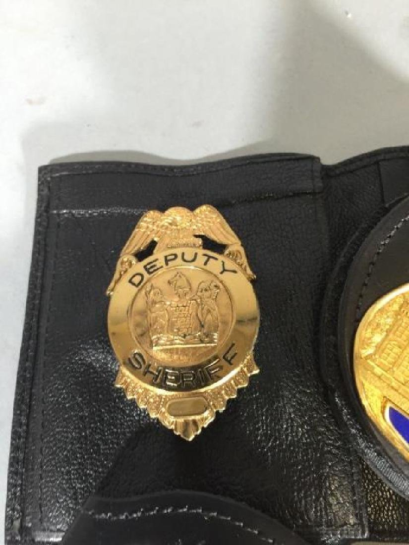 4 Obsolete Law Enforcement Badges in Leather - 2