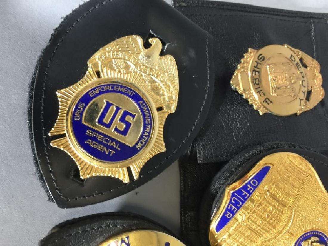 4 Obsolete Law Enforcement Badges in Leather - 4