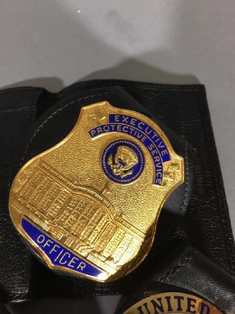 4 Obsolete Law Enforcement Badges in Leather - 5