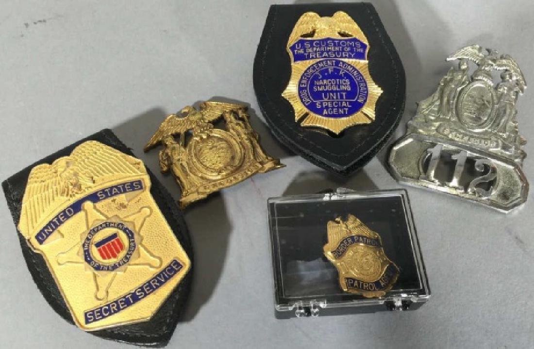 5 Obsolete Law Enforcement Badges 2 on Leather