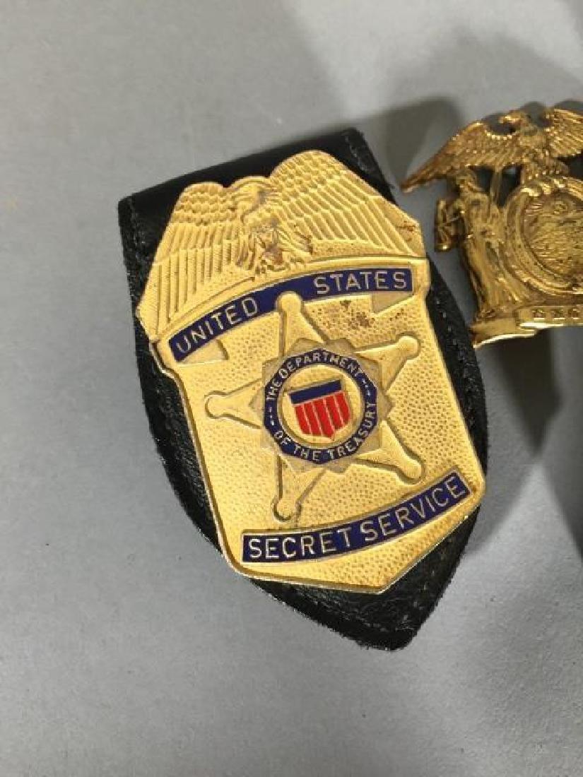 5 Obsolete Law Enforcement Badges 2 on Leather - 3