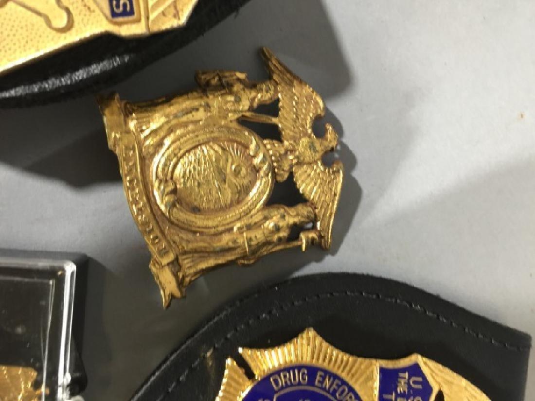 5 Obsolete Law Enforcement Badges 2 on Leather - 4