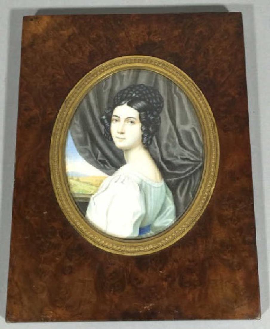 Antique 19th C Hand Painted Portrait Miniature