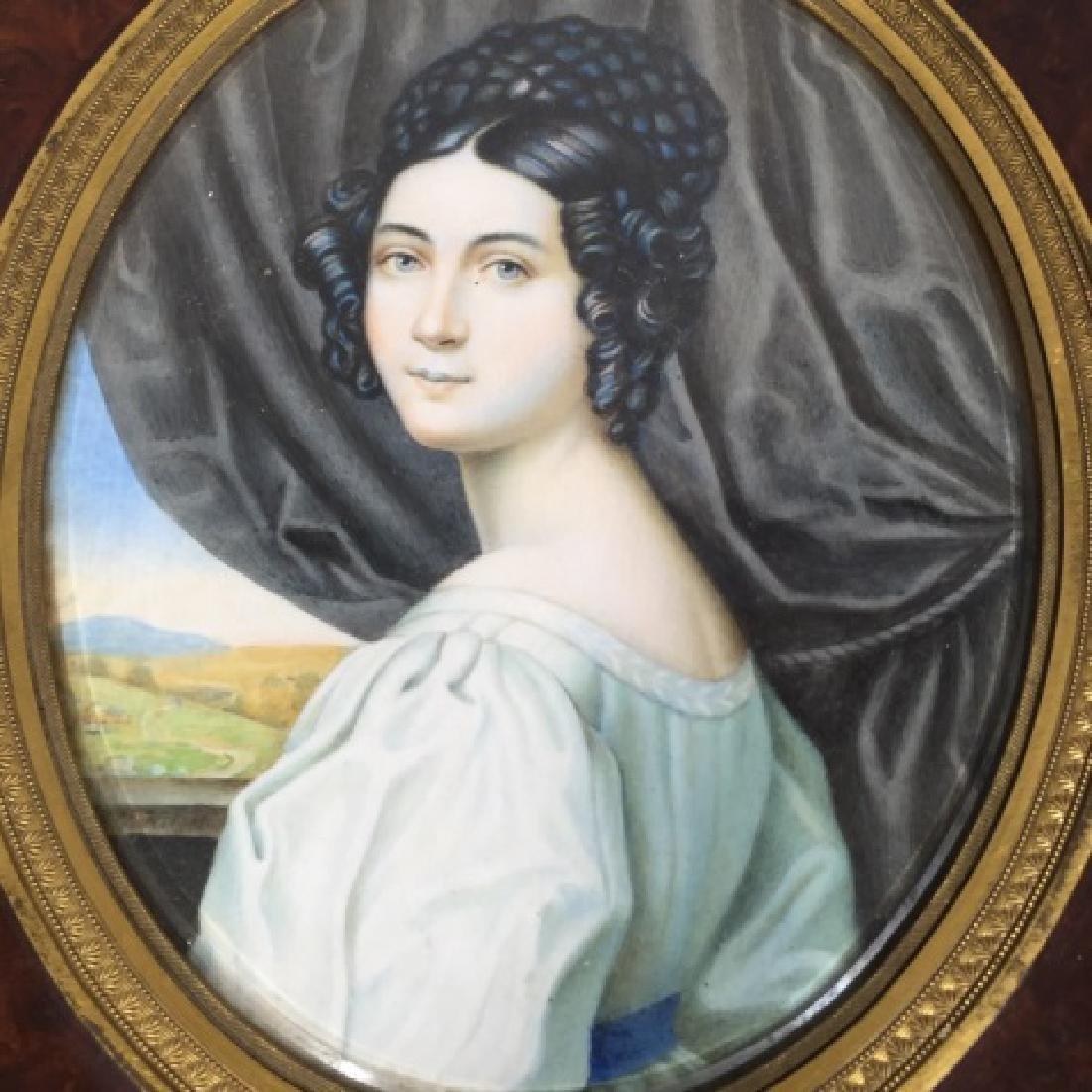 Antique 19th C Hand Painted Portrait Miniature - 2