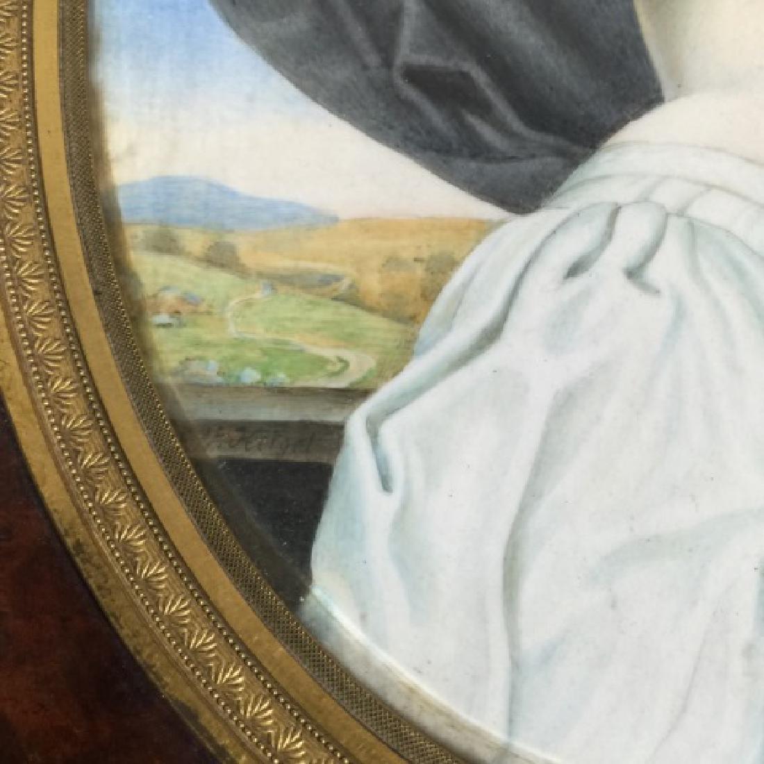 Antique 19th C Hand Painted Portrait Miniature - 3