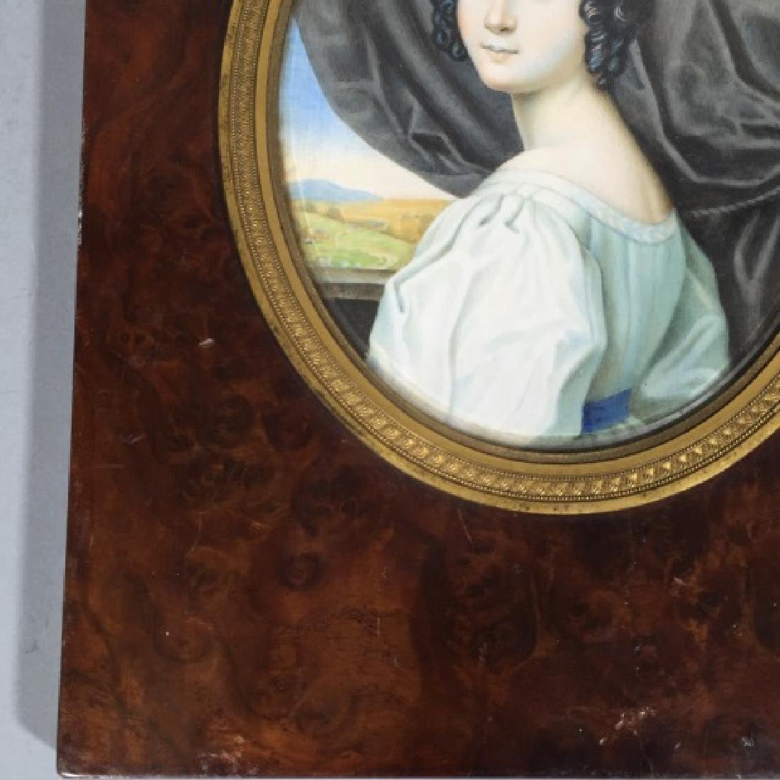 Antique 19th C Hand Painted Portrait Miniature - 4