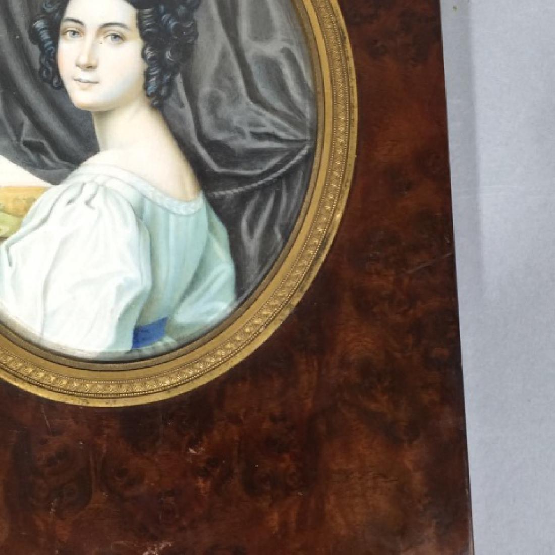 Antique 19th C Hand Painted Portrait Miniature - 5