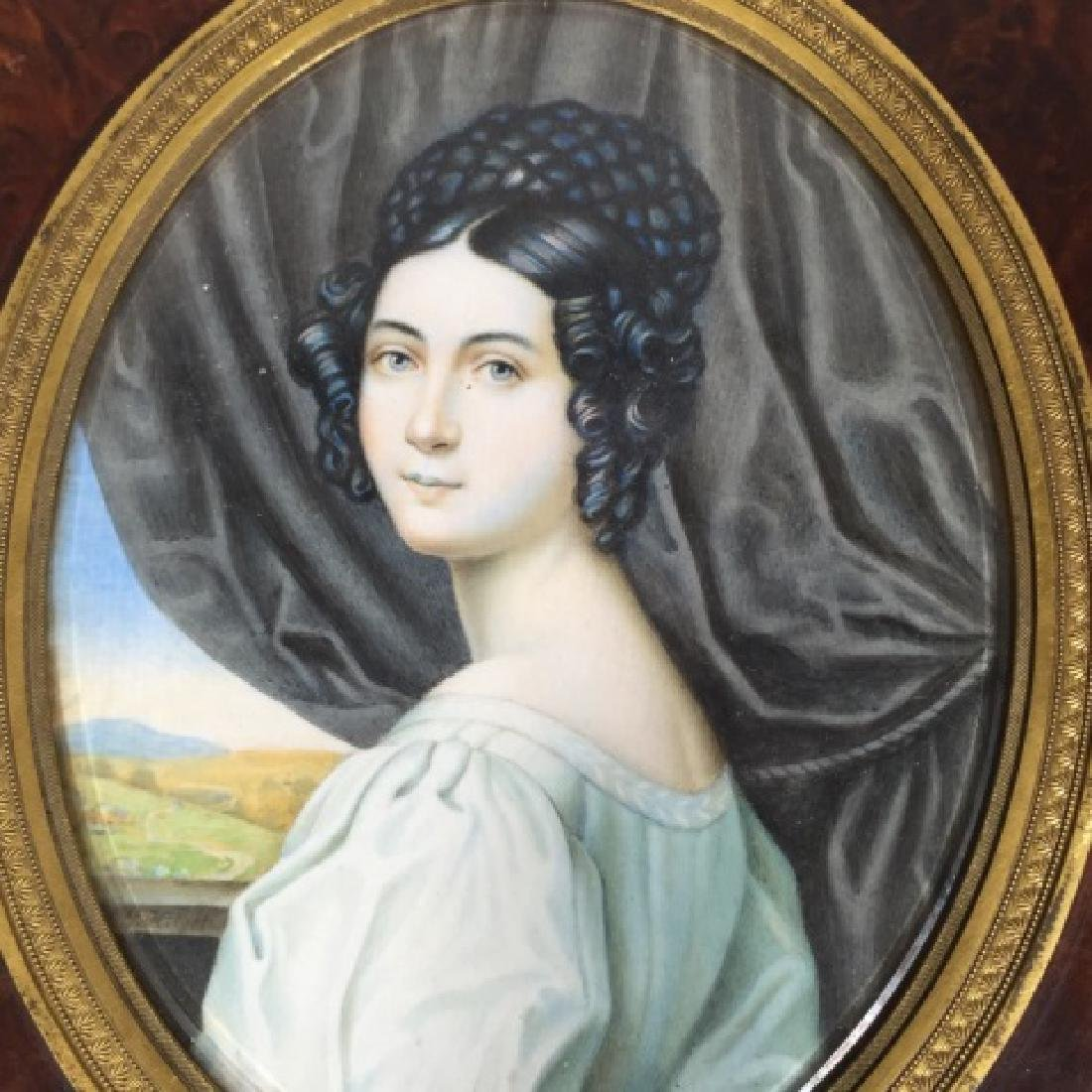 Antique 19th C Hand Painted Portrait Miniature - 6