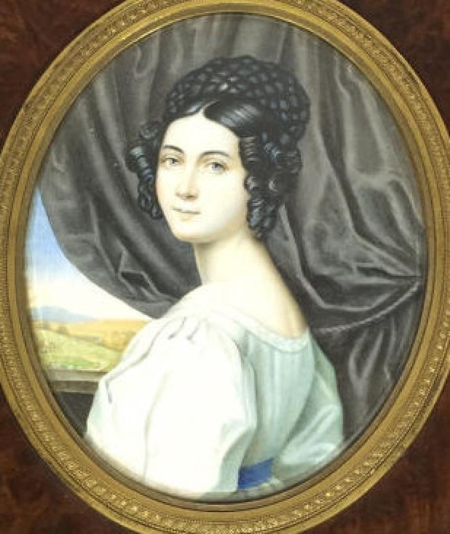 Antique 19th C Hand Painted Portrait Miniature - 7