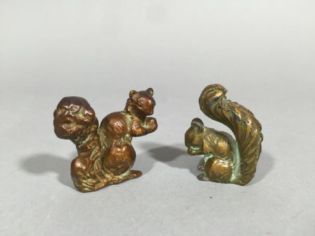 Two Antique Miniature Bronze Statues of Squirrels - 2