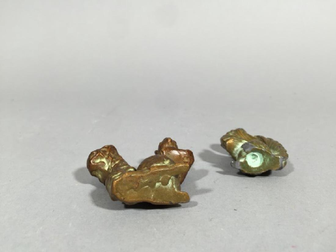 Two Antique Miniature Bronze Statues of Squirrels - 3
