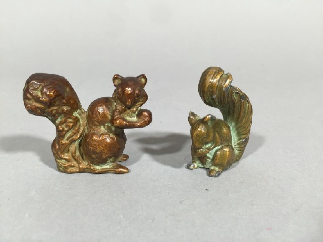 Two Antique Miniature Bronze Statues of Squirrels - 4