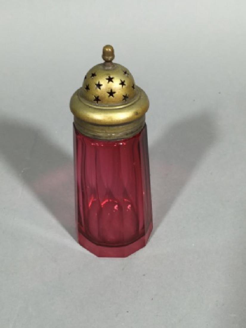 Antique 19th Bohemian Cranberry Glass Sugar Shaker