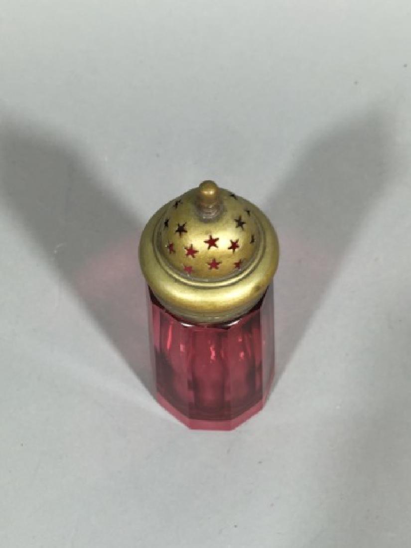 Antique 19th Bohemian Cranberry Glass Sugar Shaker - 3