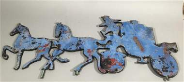 Antique Cast Iron Sign  Horse Drawn Carriage